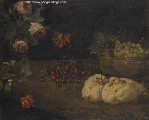 A still life with grapes in a bowl cherries roses in a vase and a pair of doves.jpg