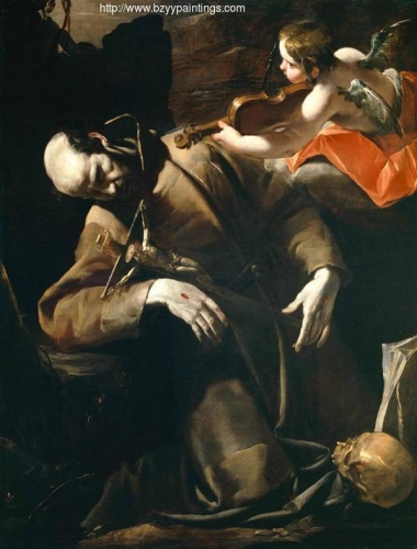 St Francis in Ecstasy Comforted by a Cherub with a Violin.jpg