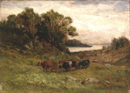 Five Cows Grazing with Trees and River in Background.jpg