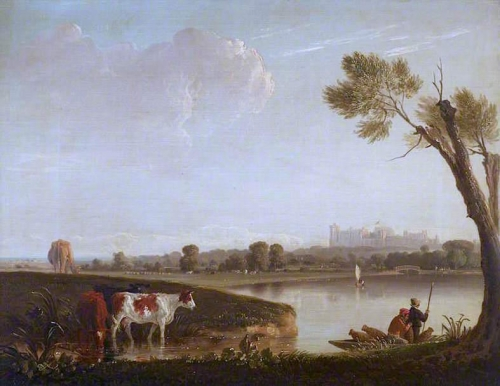 View of Windsor Castle from the River with Cattle and Two Men in a Boat.jpg