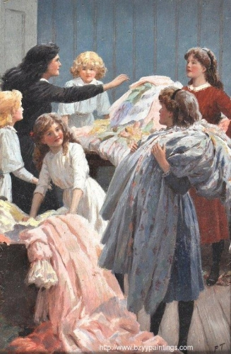 An Interior scene with young girls playing with a clothes from a trunk.jpg