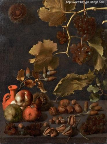 Bodegón con uvas manzanas nueces y jarra de terracota.jpg