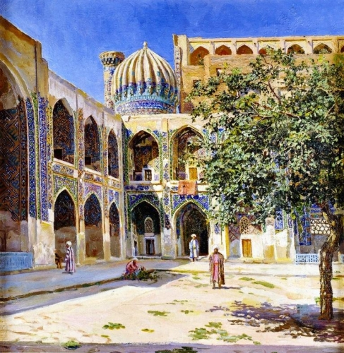The Court Yard of the Sher-Dor Mosque in Samarkand.jpg