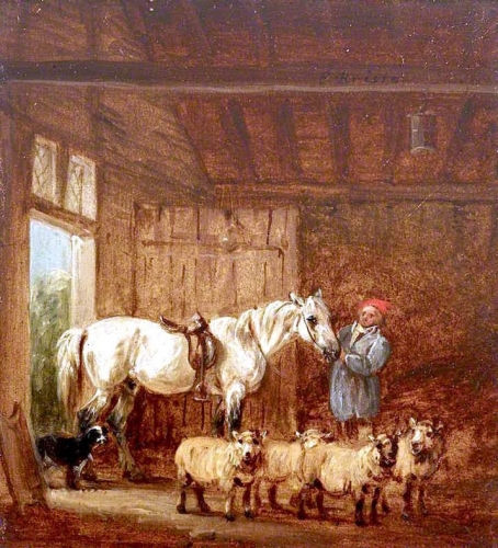 A White Horse with a Groom and Sheep in a Barn.jpg
