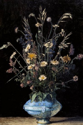 Still Life with Wildflowers in a Blue and White Faience Vase.jpg