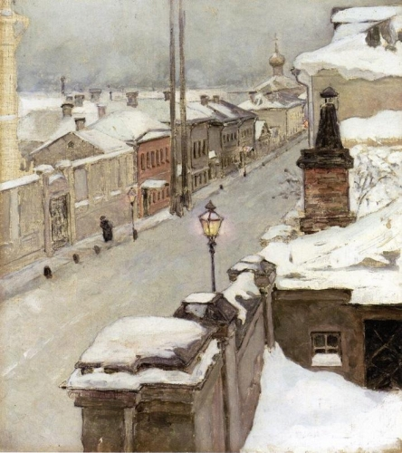 Moscow in Winter View from the Window onto Srednaia Kislovka.jpg