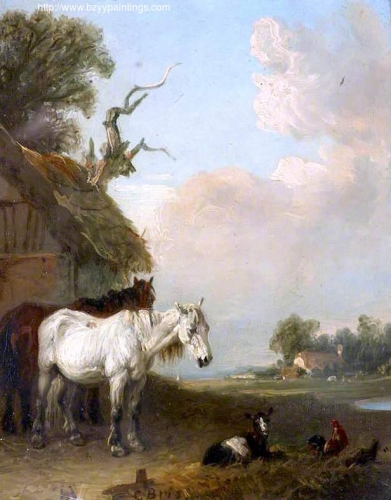 Landscape with Two Horses and a Goat by a Shed.jpg