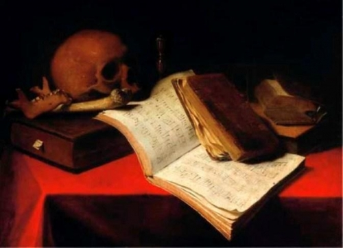 Vanitas with Music Sheets an Hourglass and a Skull.jpg