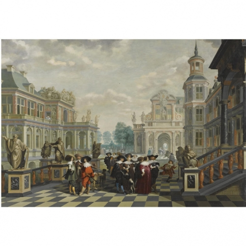 An Elaborate Palace Courtyard With Elegant Company.jpg