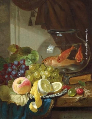 Still Life with Fruit and Goldfish in a Bowl on a Ledge.jpg