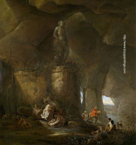 A grotto with travellers and a sculpture of Bacchus.jpg