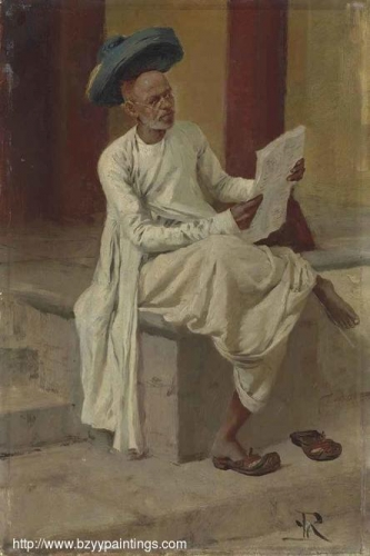 An Indian man reading the newspaper in the bazaar Bombay.jpg