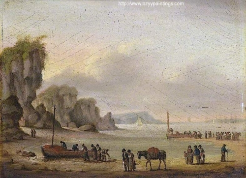 Coastal Scene with Shipping and Figures.jpg