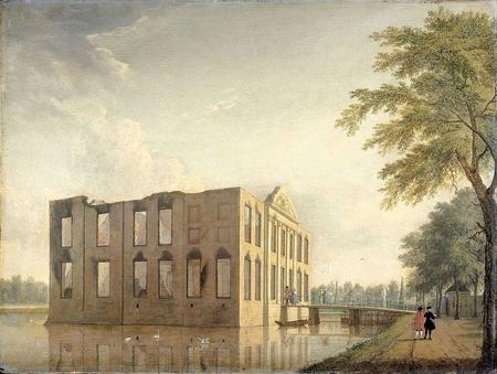 Berckenrode Castle in Heemstede after the fire of 4-5 May 1747: side view.jpg