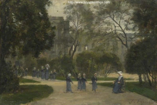 Nuns and Schoolgirls in the Tuileries Gardens Paris.jpg
