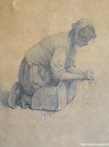 Study for the painting le lavoir de la houle also known as Femme bretonne au lavoir).jpg