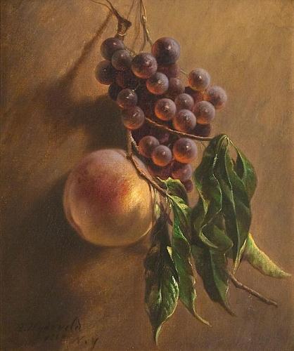 Still Life Hanging Grapes and Peach.jpg