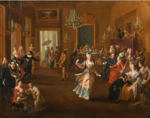 Figures in an Elegant Interior Watching an Entertainment.jpg