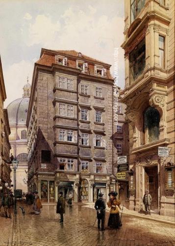 Das Tuchgeschaft Albert Hardt in der Freisingergasse hinten die Peterskirche Wien.jpg