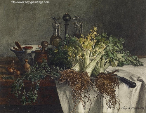 Still Life on Kitchen Table with Celery Parsley Bowl and Cruets.jpg