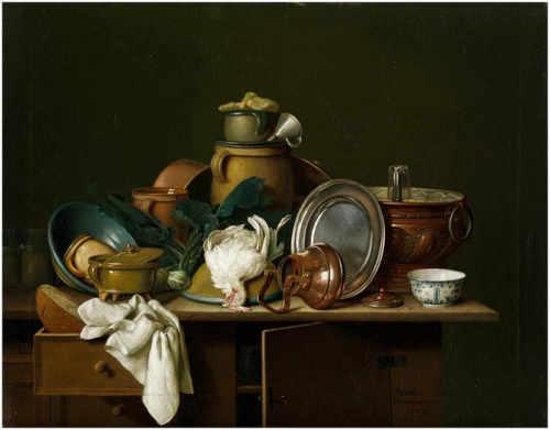 A kitchen still life with dishes fruit and poultry.jpg