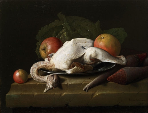 Still life with plucked chicken apples and turnips.jpg